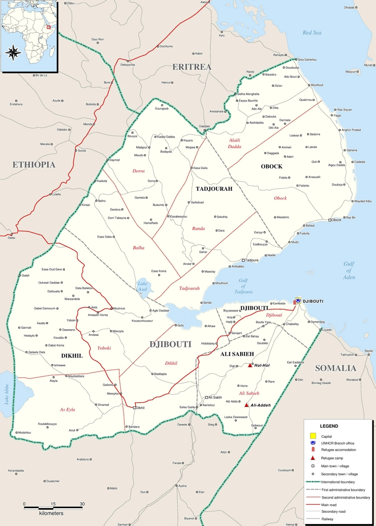 Large detailed map of Djibouti