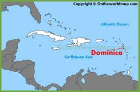 Dominica location on the Caribbean map