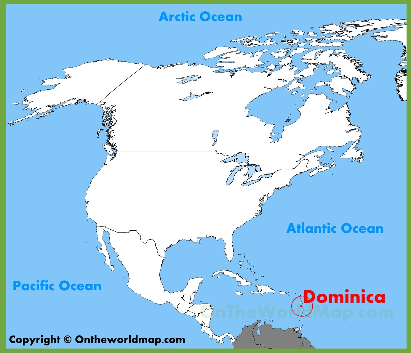 Dominica location on the North America map