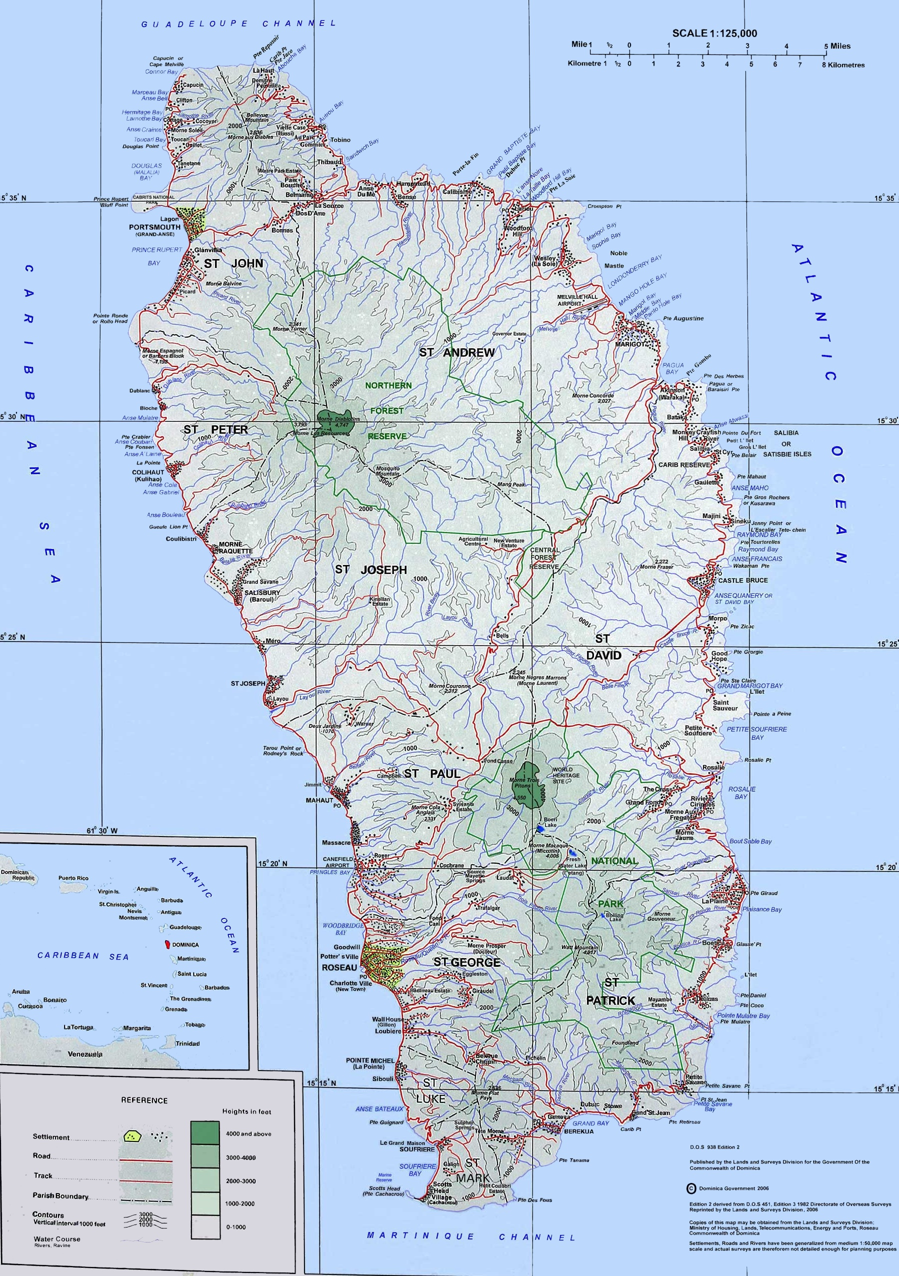 Large detailed topographic map of Dominica