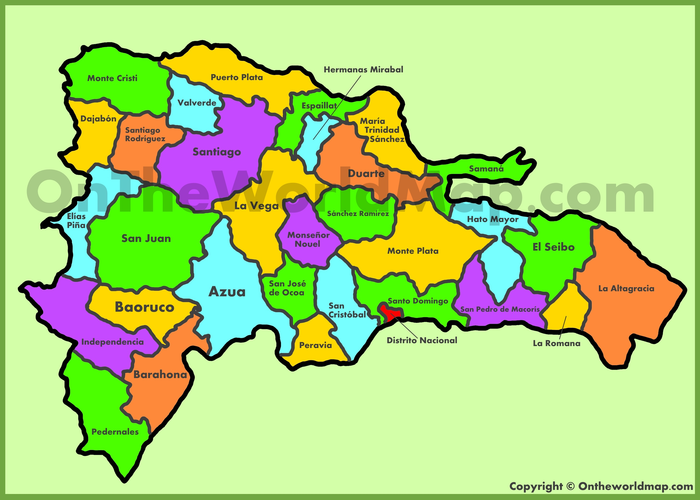 Administrative map of Dominican Republic on