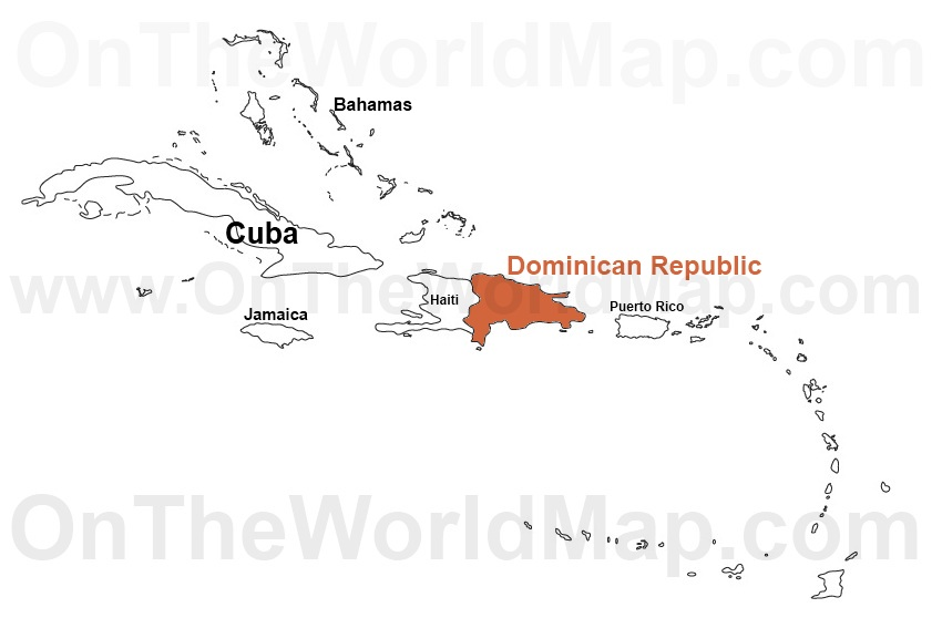 Dominican Republic on the World Map Dominican Republic on the Caribbean Map