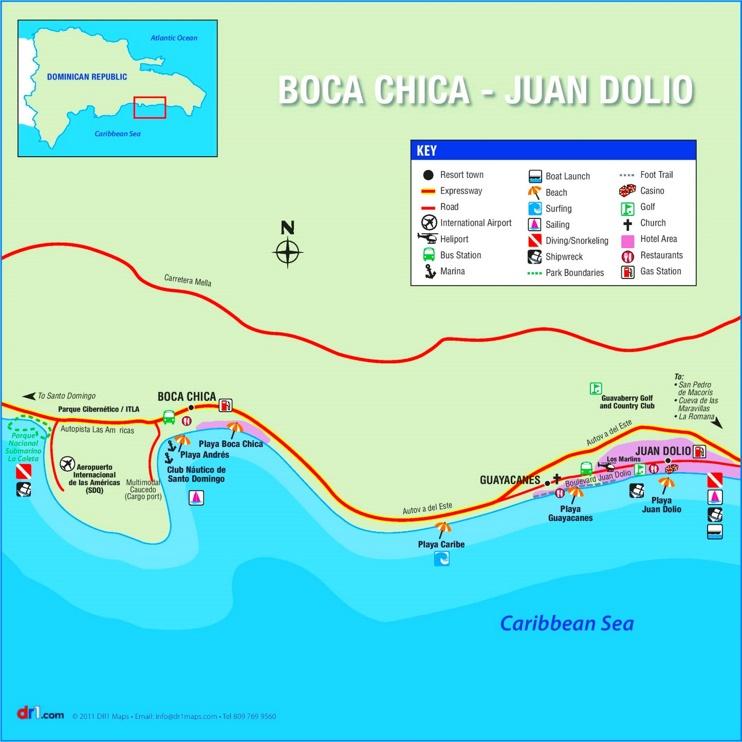 Boca Chica tourist map