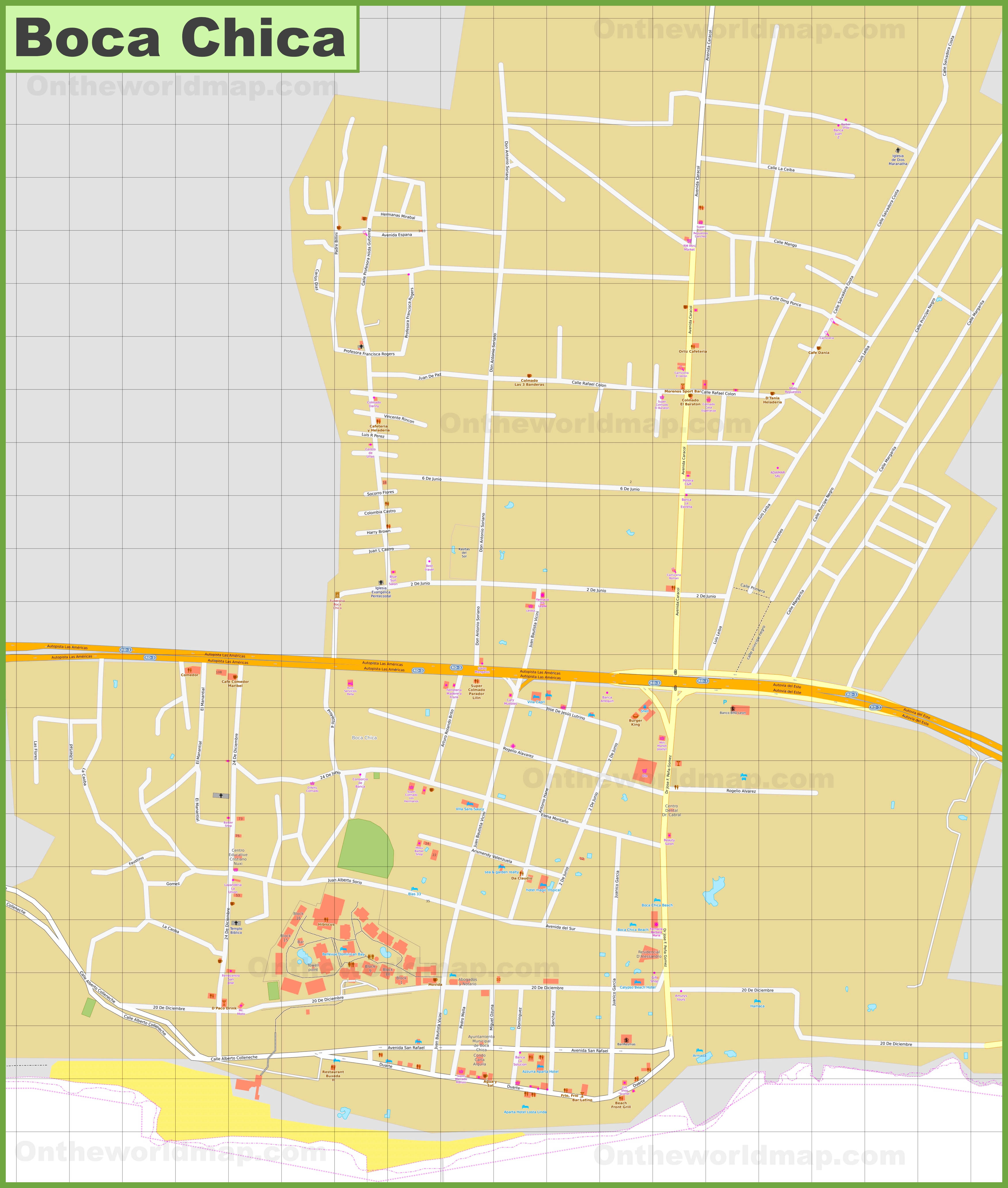 Large detailed map of Boca Chica