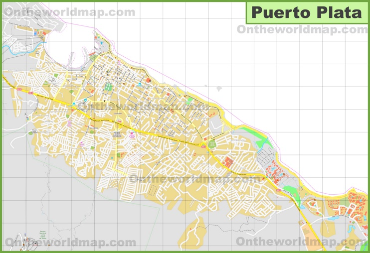Large detailed map of Puerto Plata