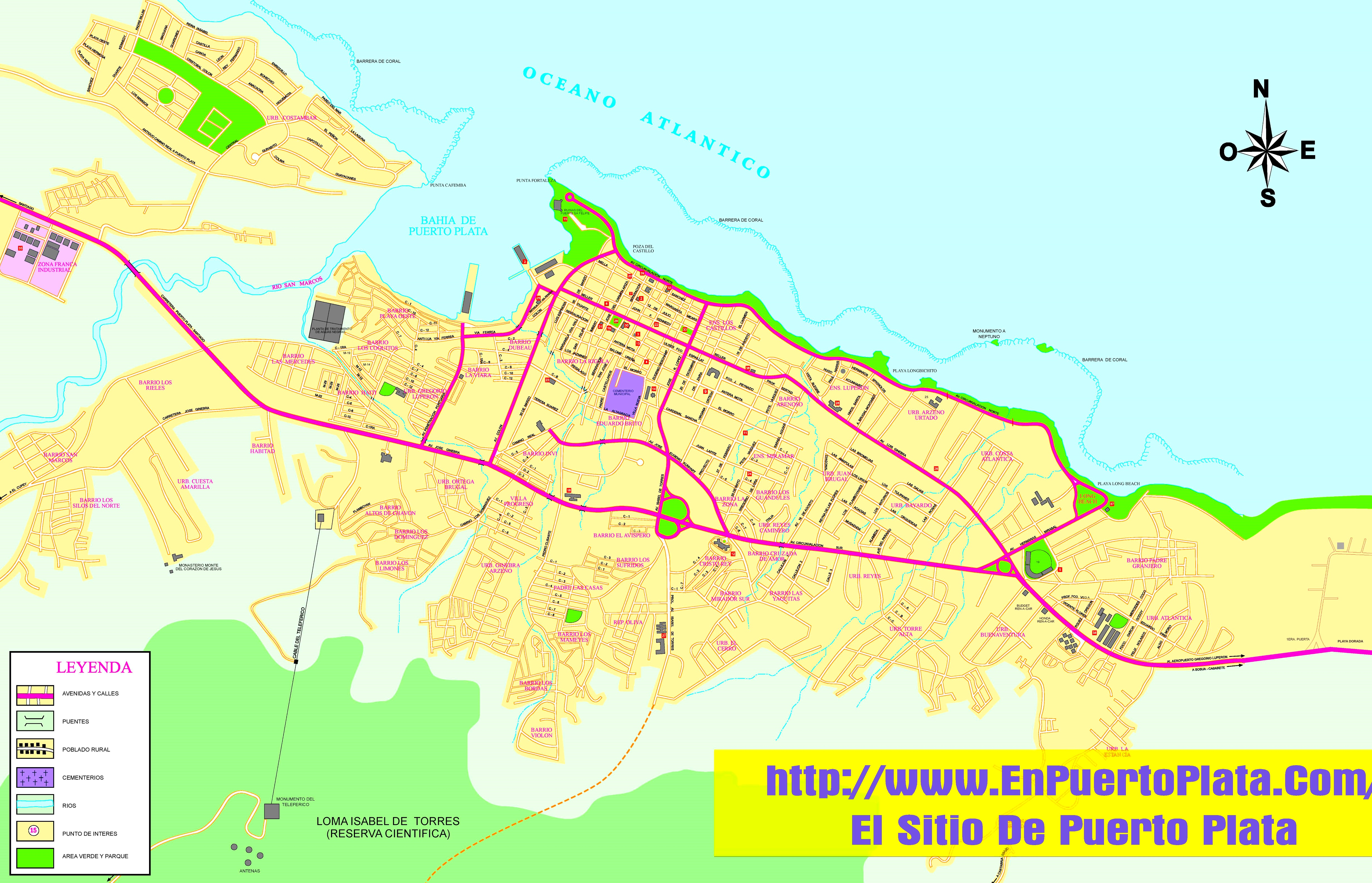 Puerto Plata sightseeing map