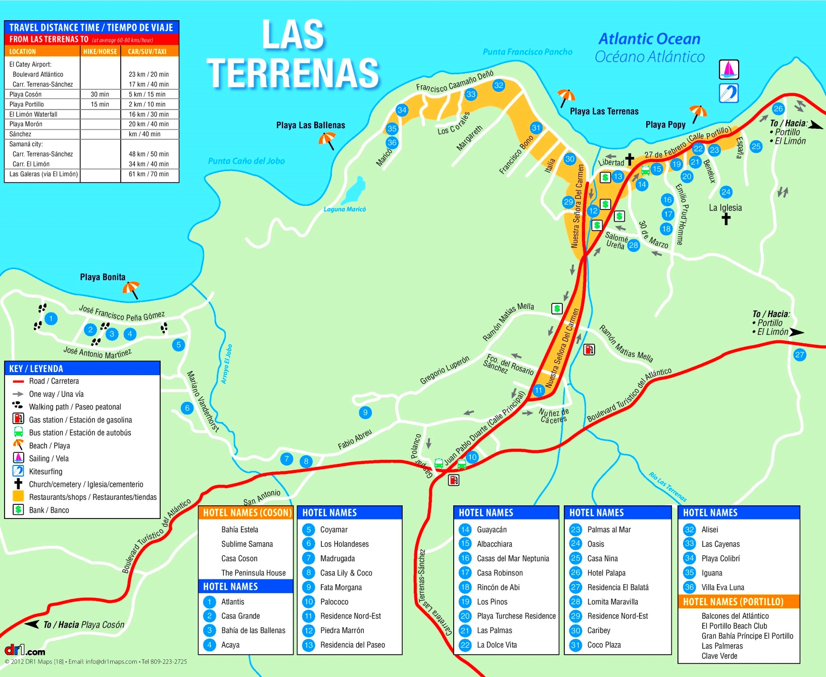 Las Terrenas hotel map