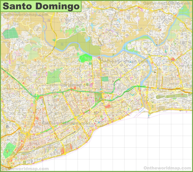 Large detailed map of Santo Domingo