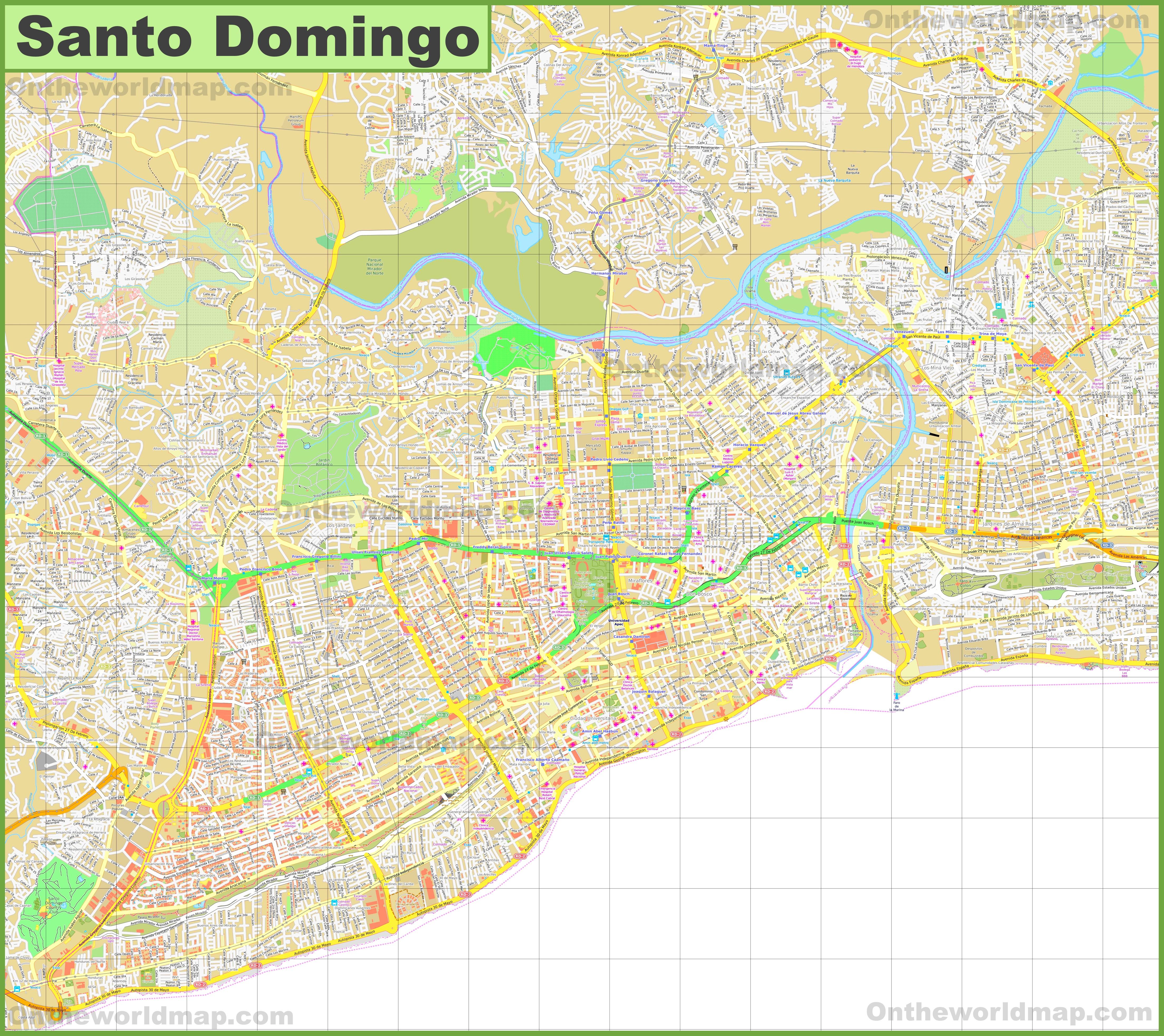Large detailed map of Santo Domingo on managua map, la romana map, yucatan peninsula map, san salvador map, el salvador map, la havana map, port au prince on map, saint-domingue map, jamaica map, dominican republic map, caribbean map, punta cana map, havana cuba map, san juan map, quito map, belmopan map, toronto map, haiti map, puerto rico map, caracas map,