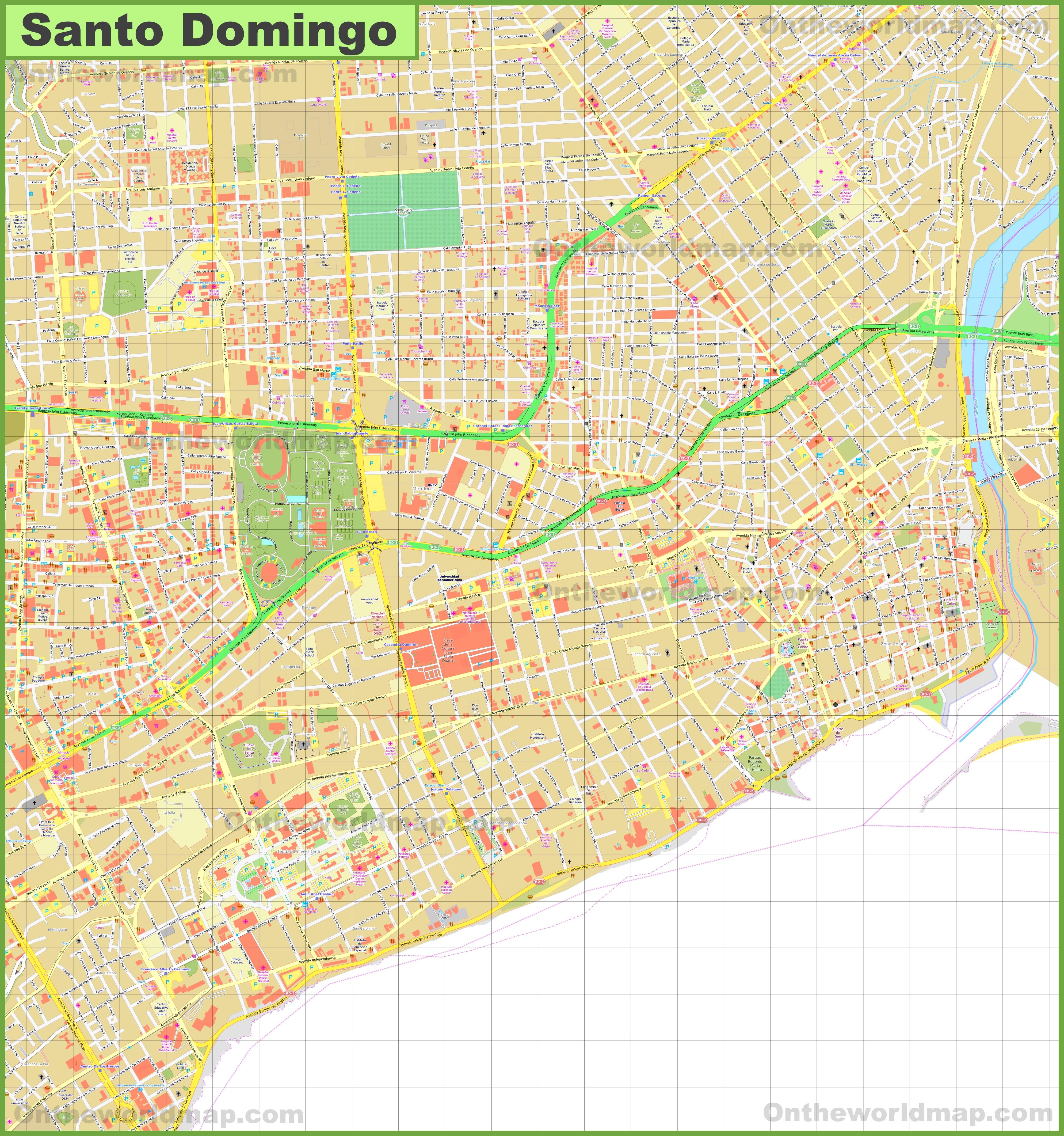 Santo Domingo City Center Map - Santo domingo map
