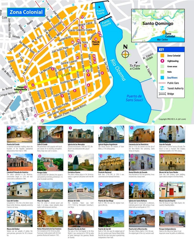 Santo Domingo Ciudad Colonial map