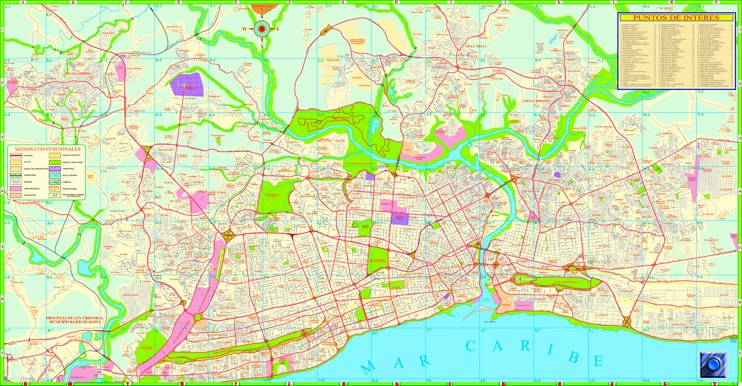 Santo Domingo sightseeing map