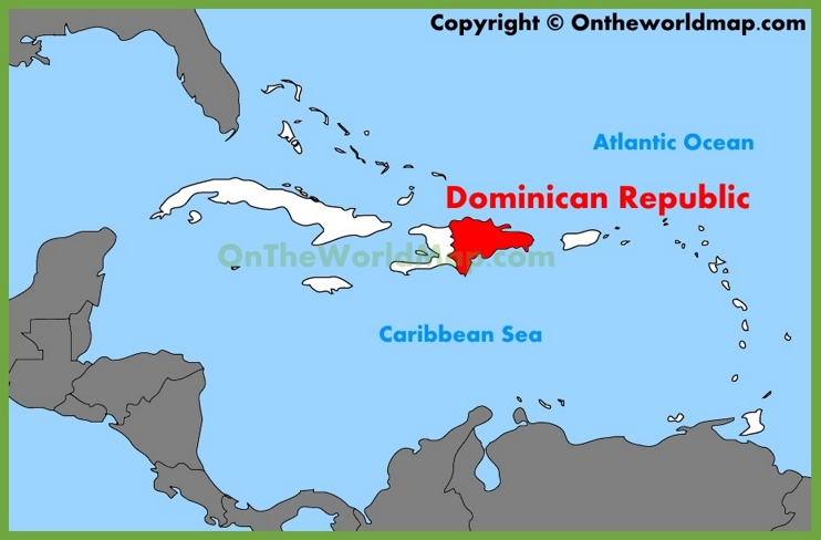 Dominican Republic location on the Caribbean map