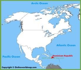 República Dominicana en el mapa de América del Norte