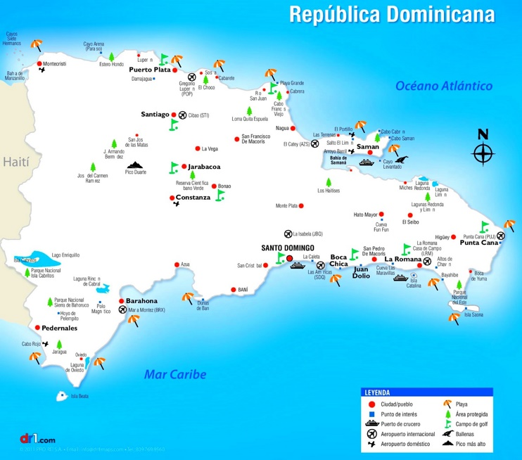 Dominican Republic sightseeing map