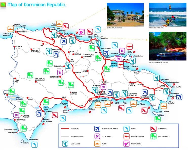 Dominican Republic tourist attractions map