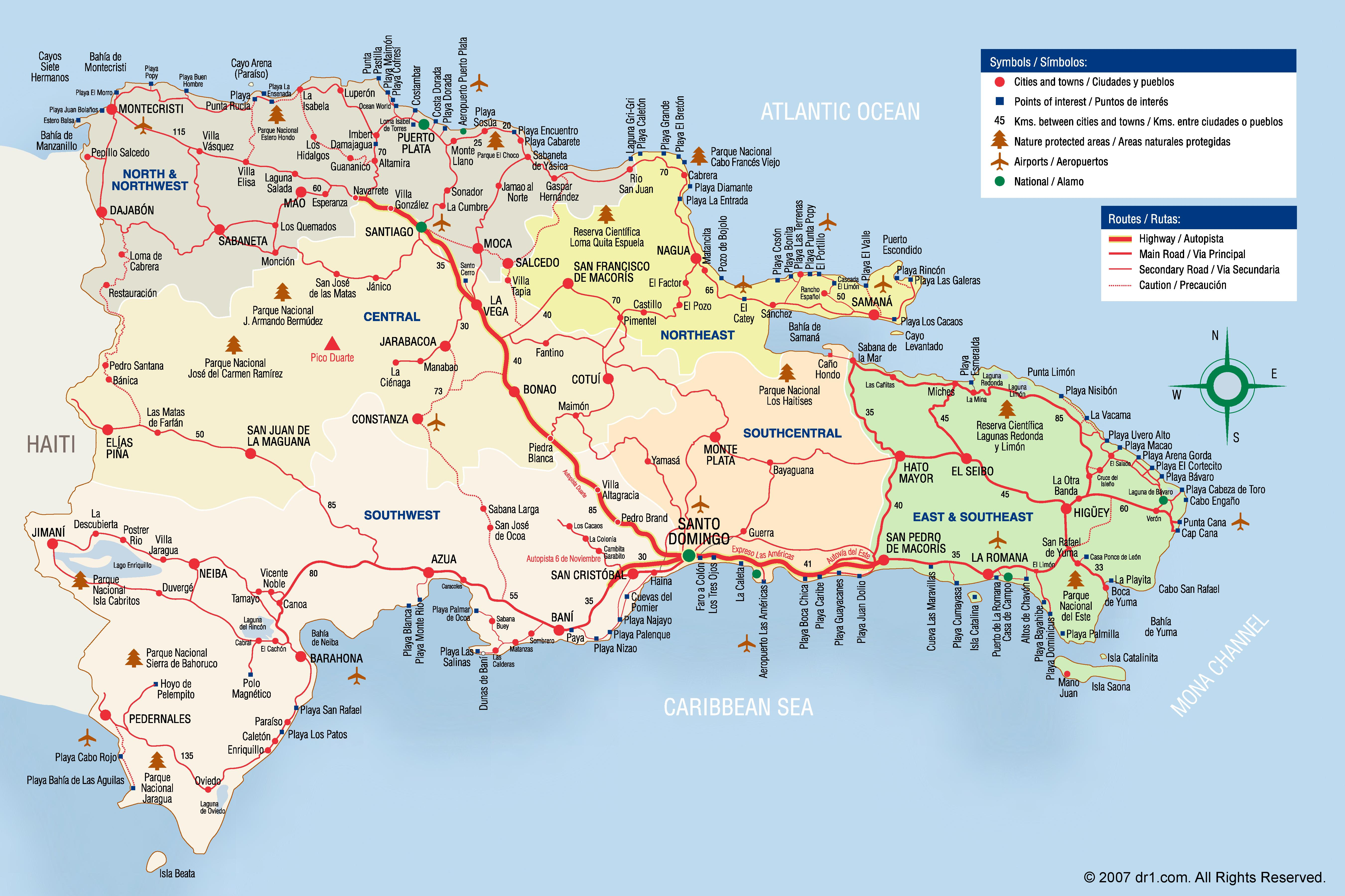 Map Of Dominican Republic Large detailed tourist map of Dominican Republic Map Of Dominican Republic