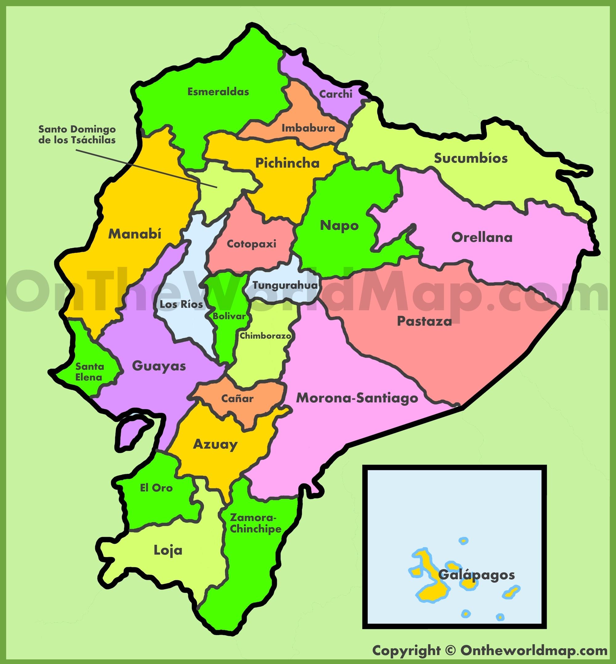 Administrative map of Ecuador