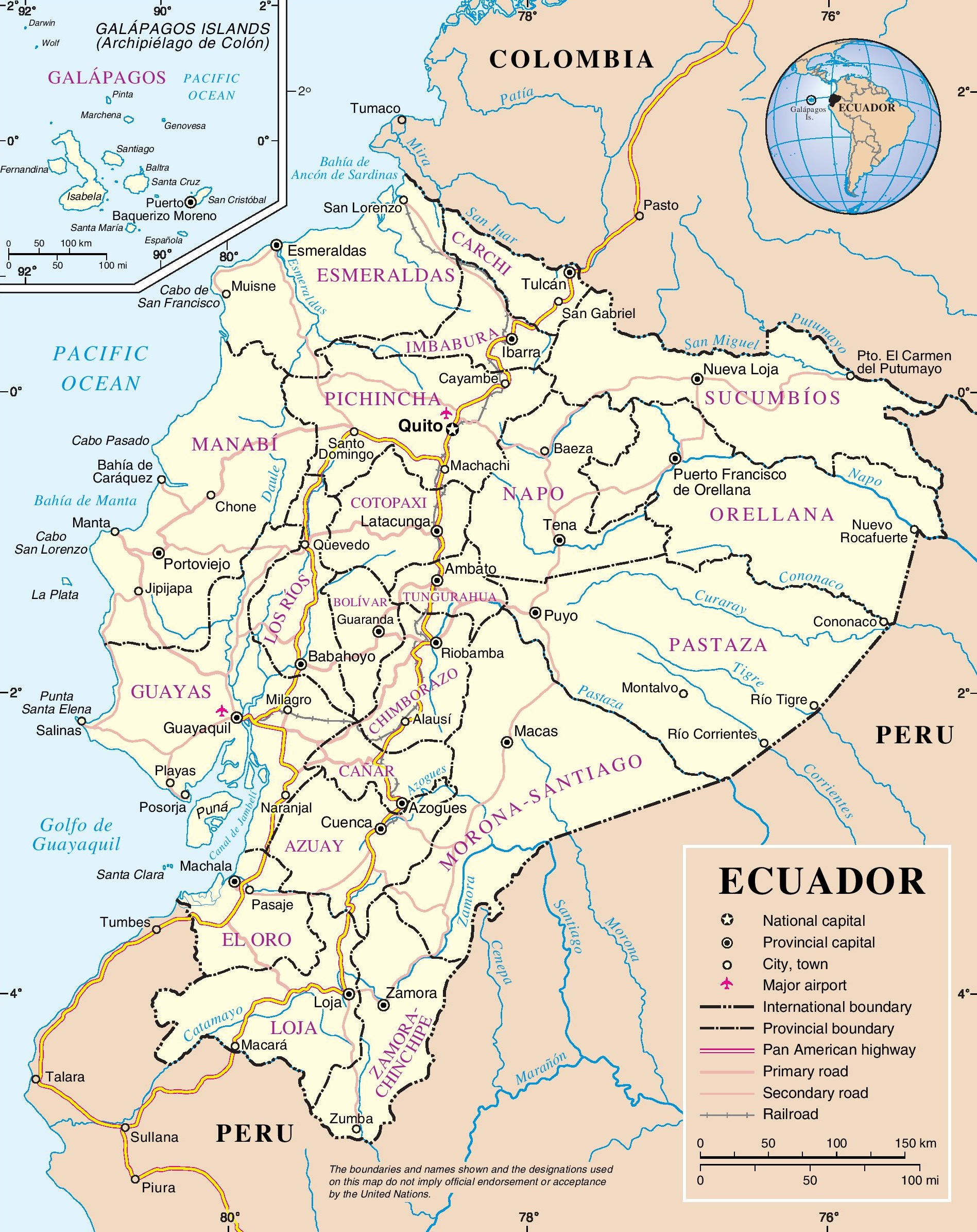 Ecuador Maps Maps Of Ecuador - Road map of peru