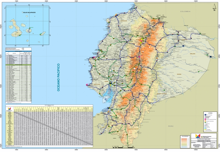 Large detailed road map of Ecuador