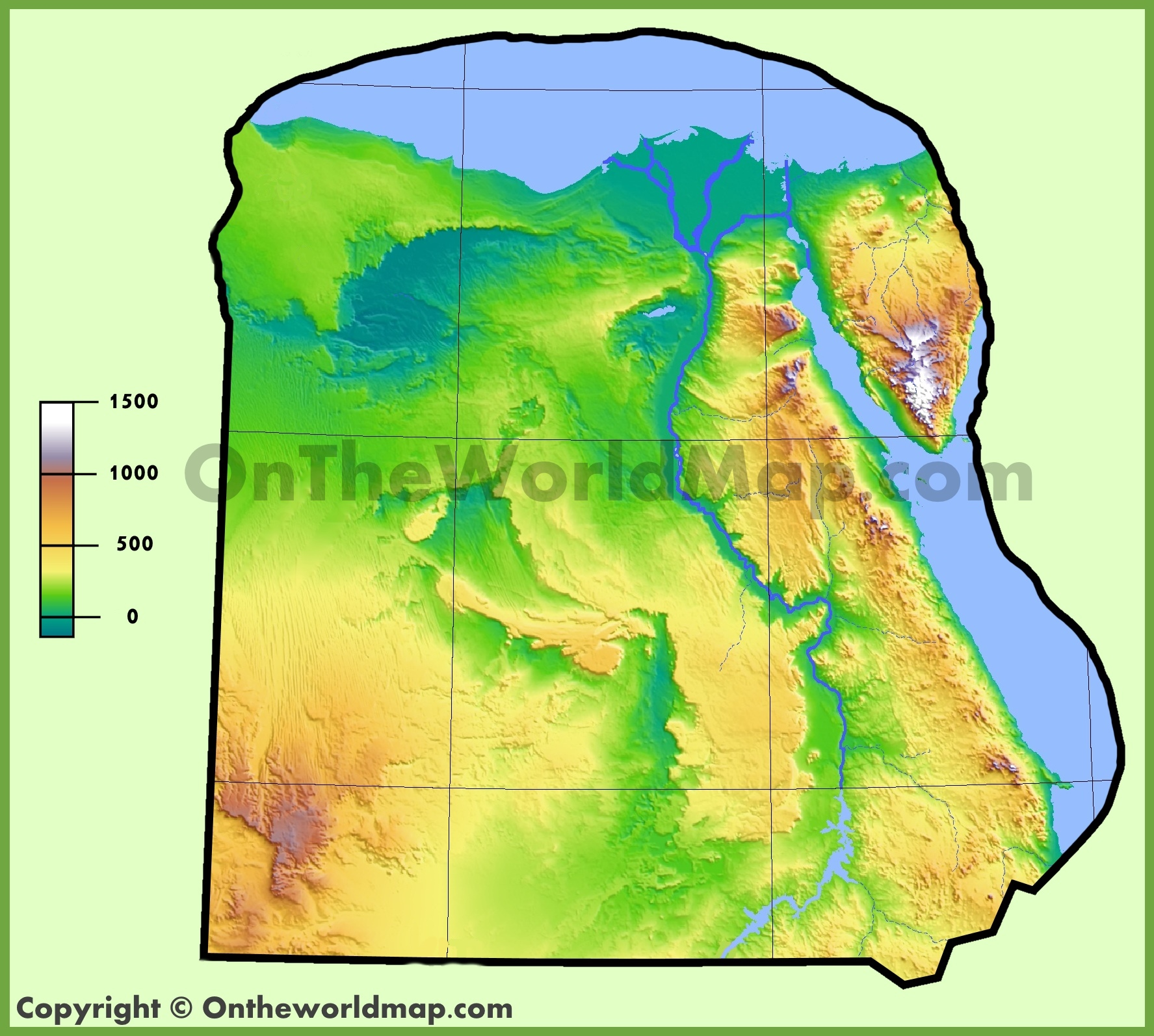 Egypt Physical Map - Map of egypt landforms