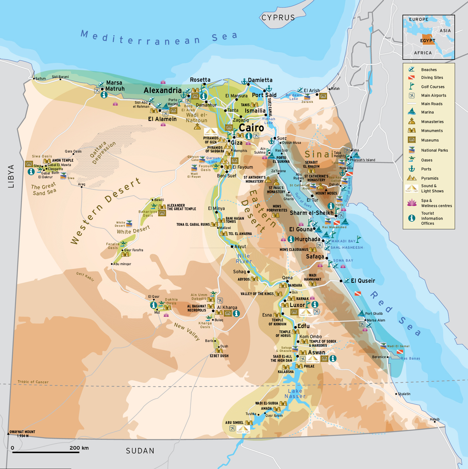 Egypt tourist map
