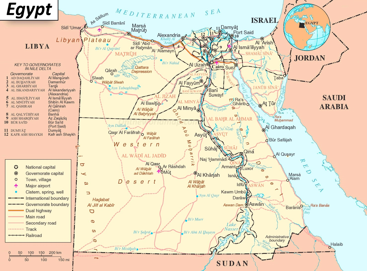 Road Map Of Egypt - Map of egypt picture