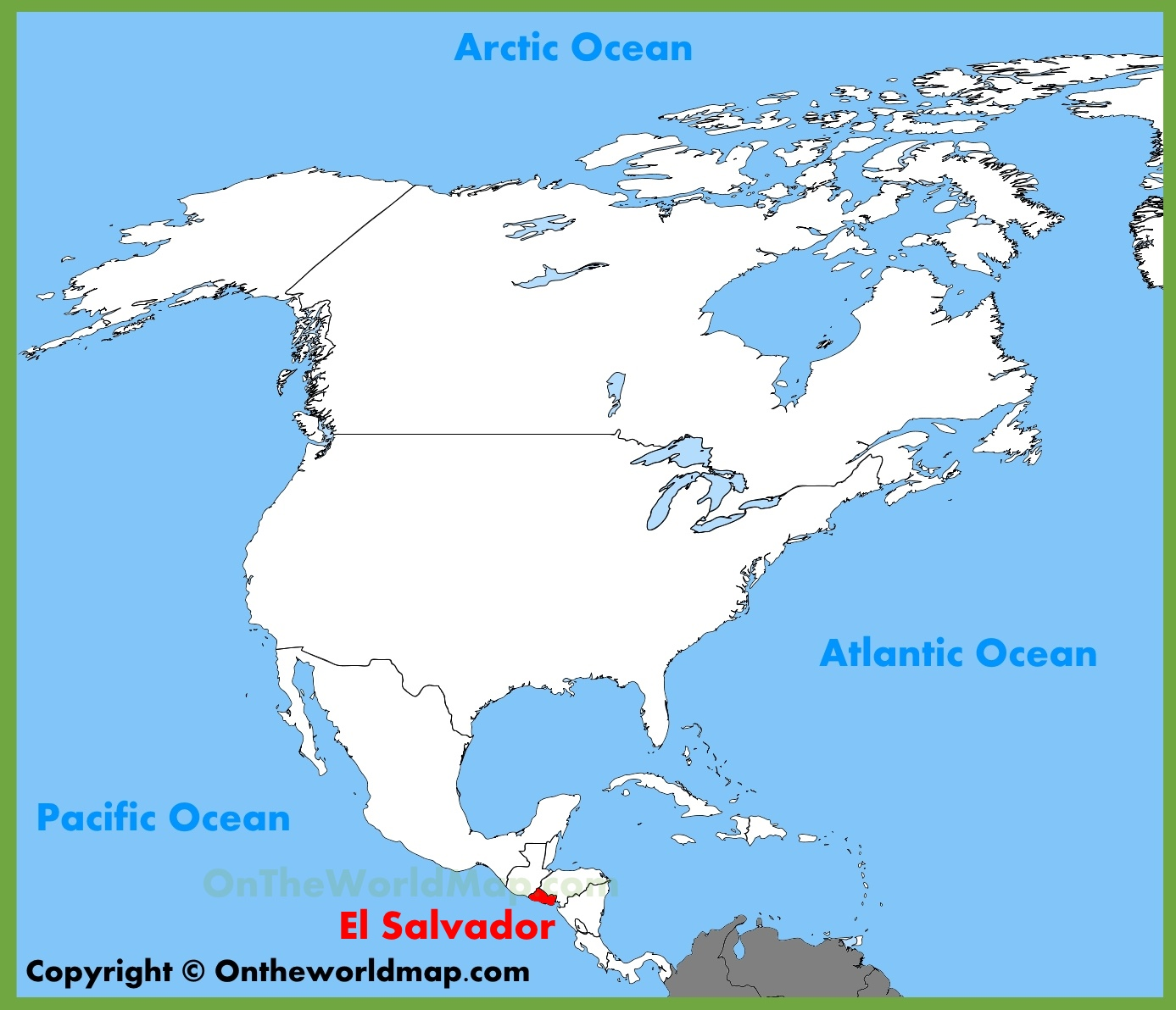 . el salvador location on the north america map