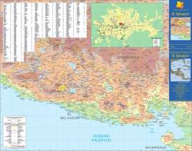 Large detailed map of El Salvador with cities and towns
