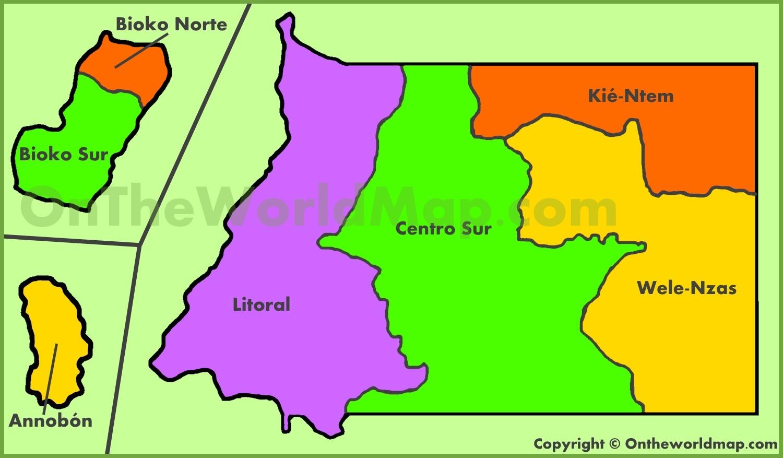 Administrative map of Equatorial Guinea