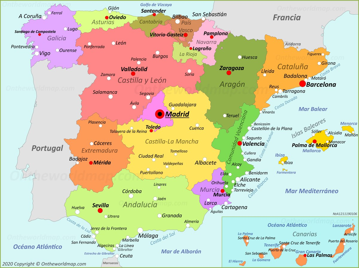 Mapa De Valencia España.Mapa De Espana Espana Mapas