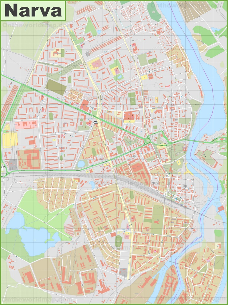 Large detailed map of Narva