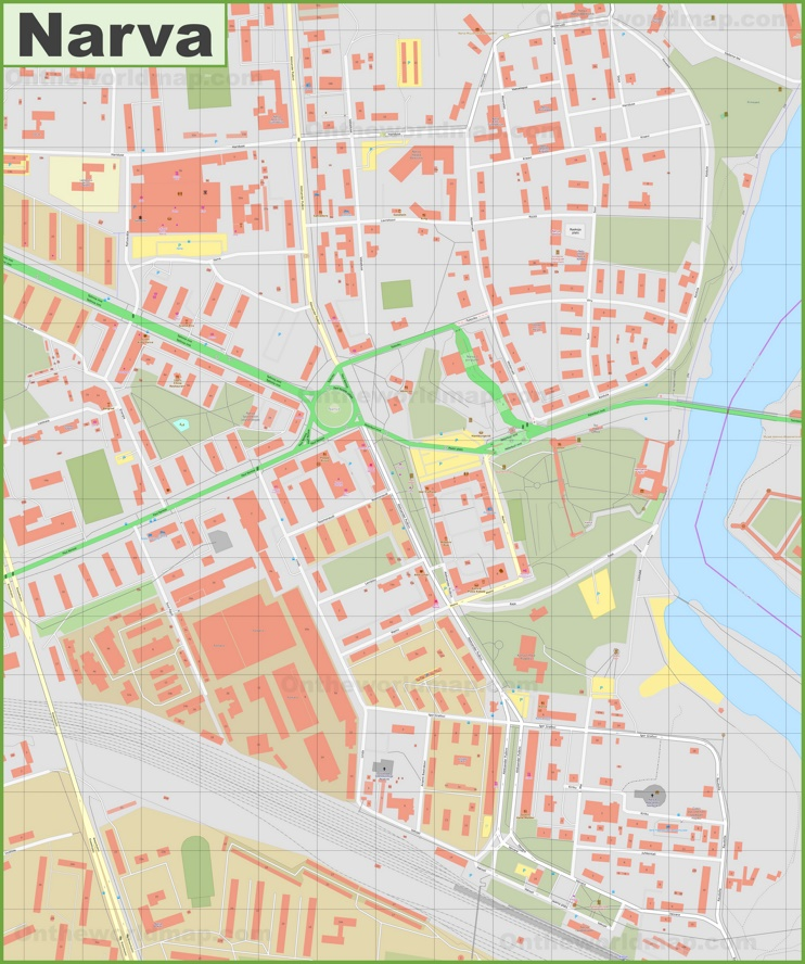 Narva city center map