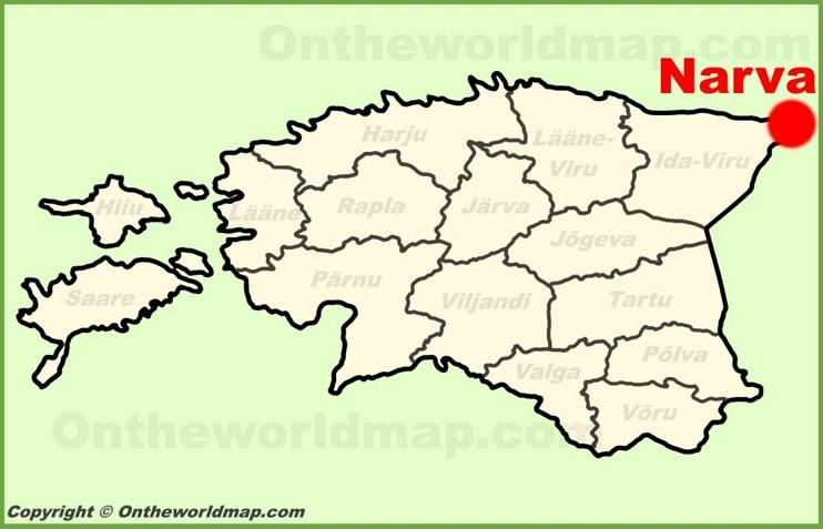 Narva location on the Estonia Map