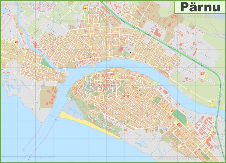 Large detailed map of Pärnu