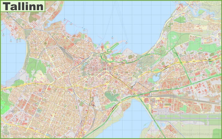 Large detailed map of Tallinn