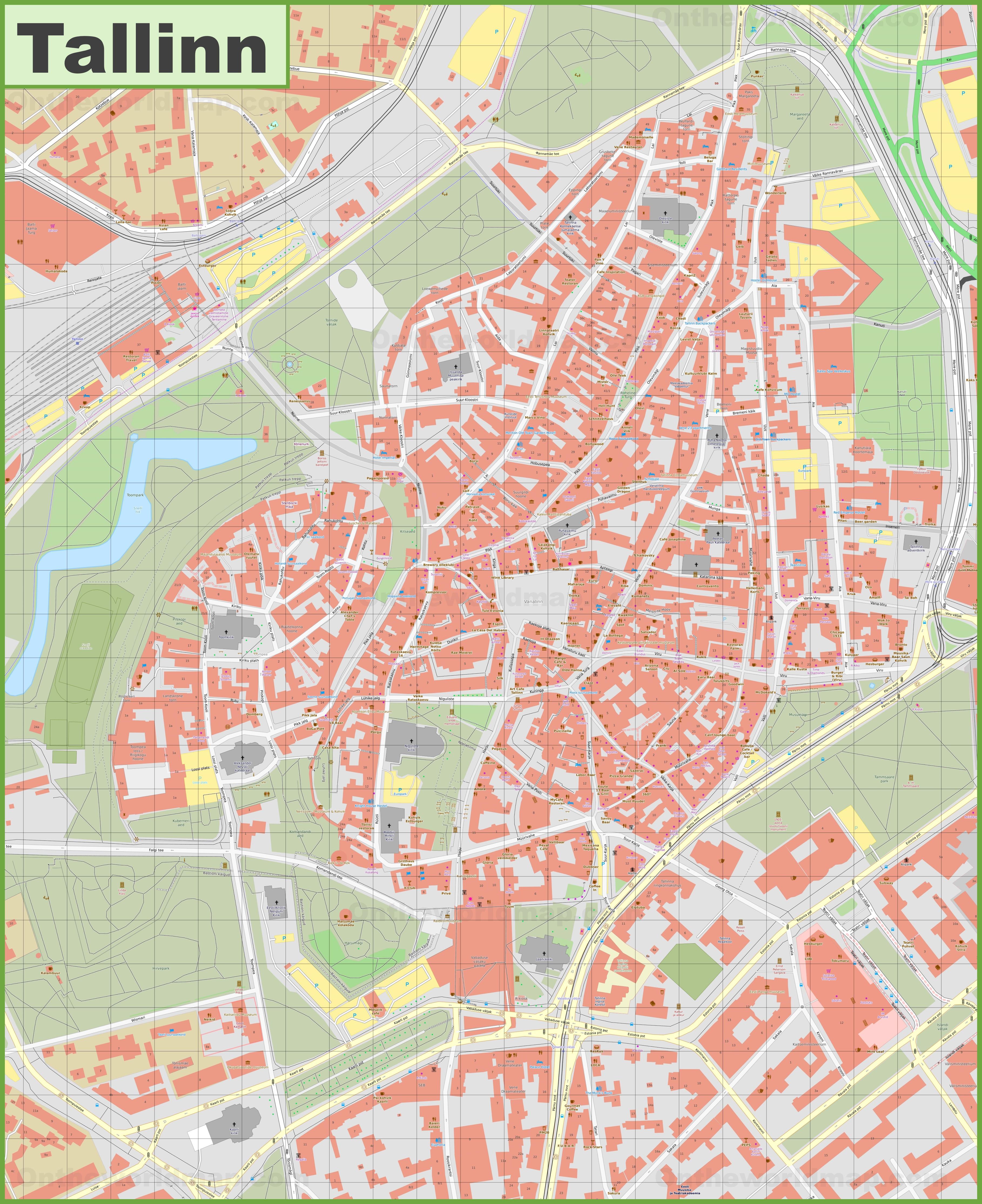 City map Tallinn Estonia