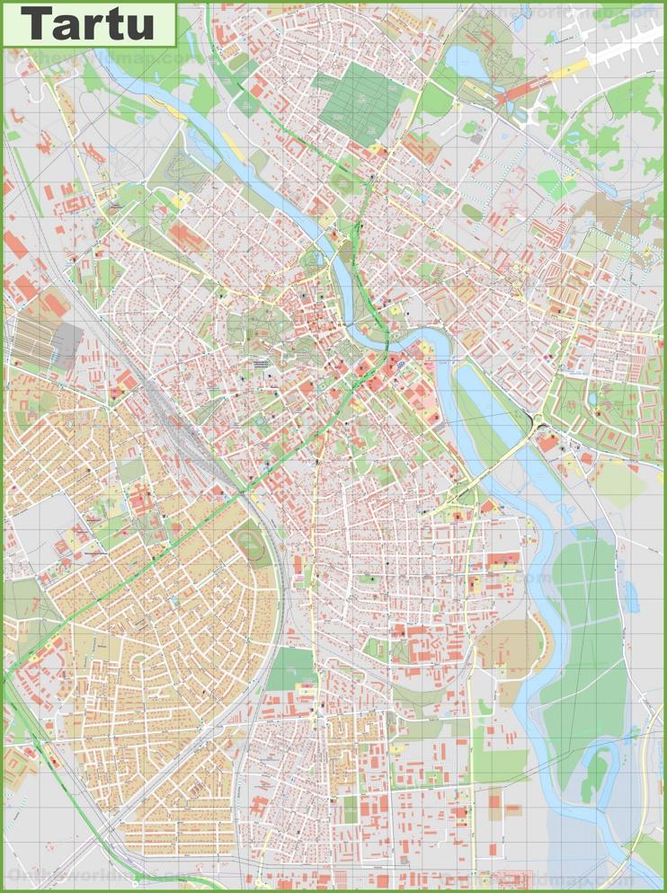 Large detailed map of Tartu