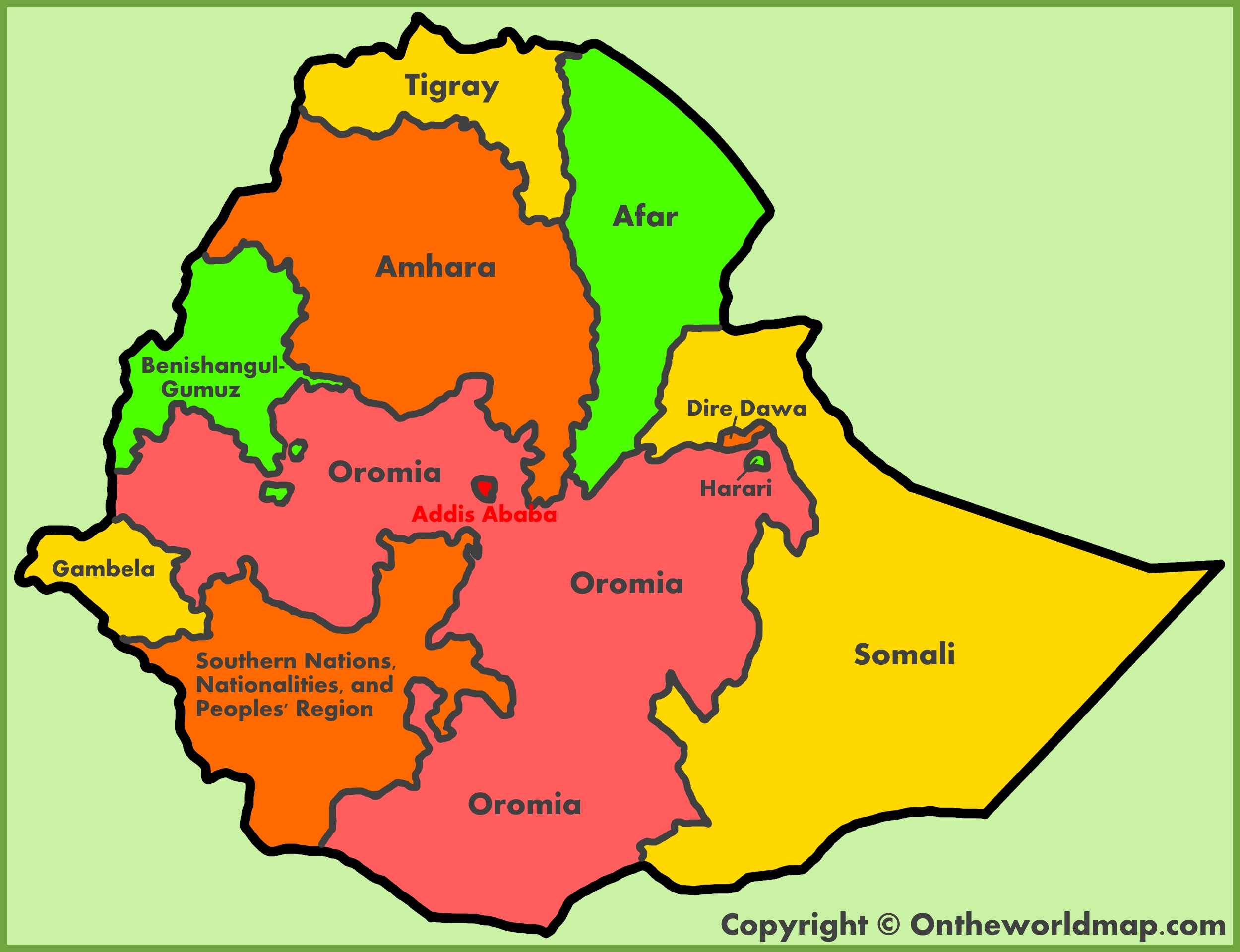 Administrative map of Ethiopia