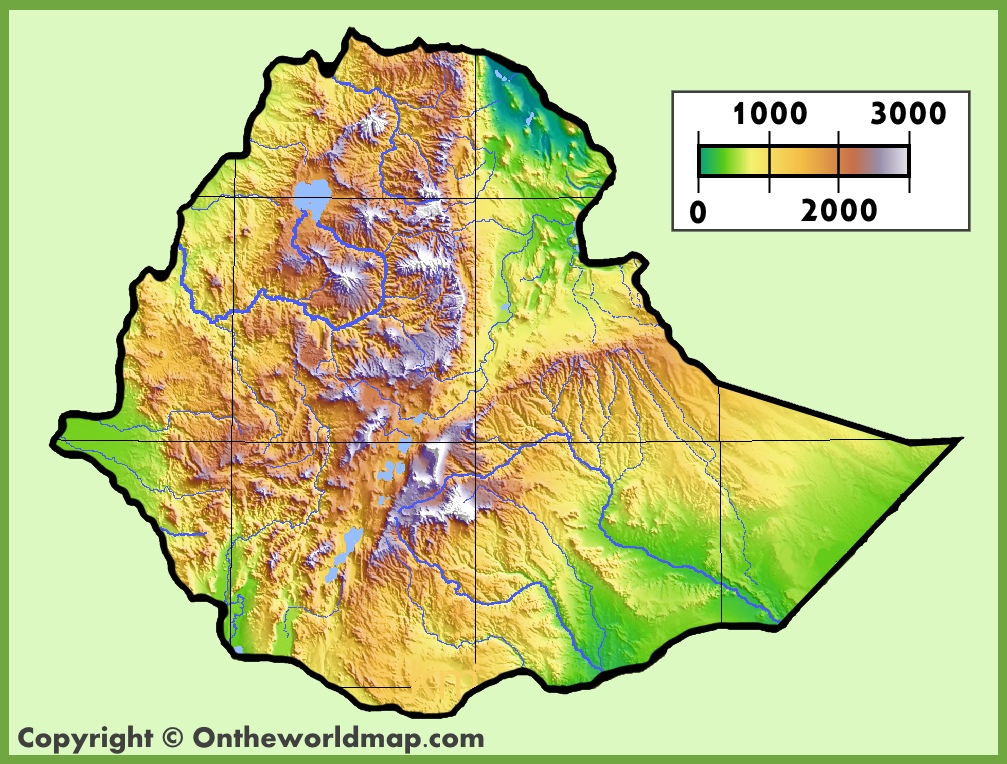 Ethiopia physical map sciox Images