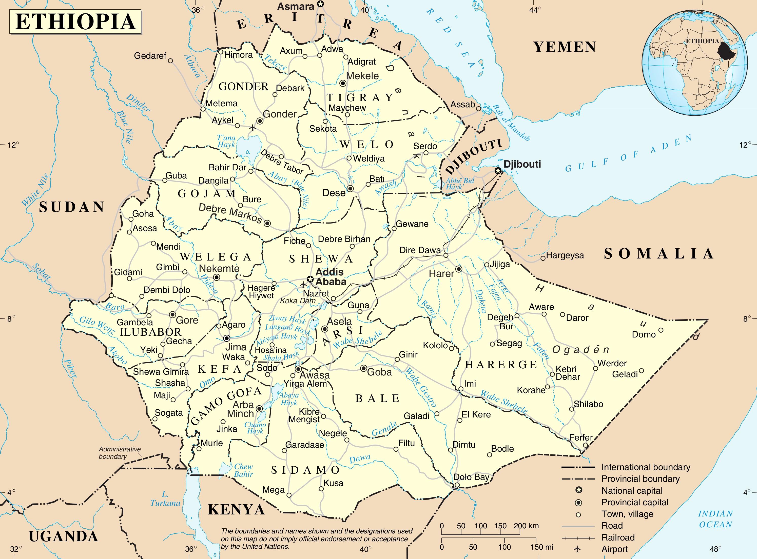Ethiopia Political Map - Ethiopia map