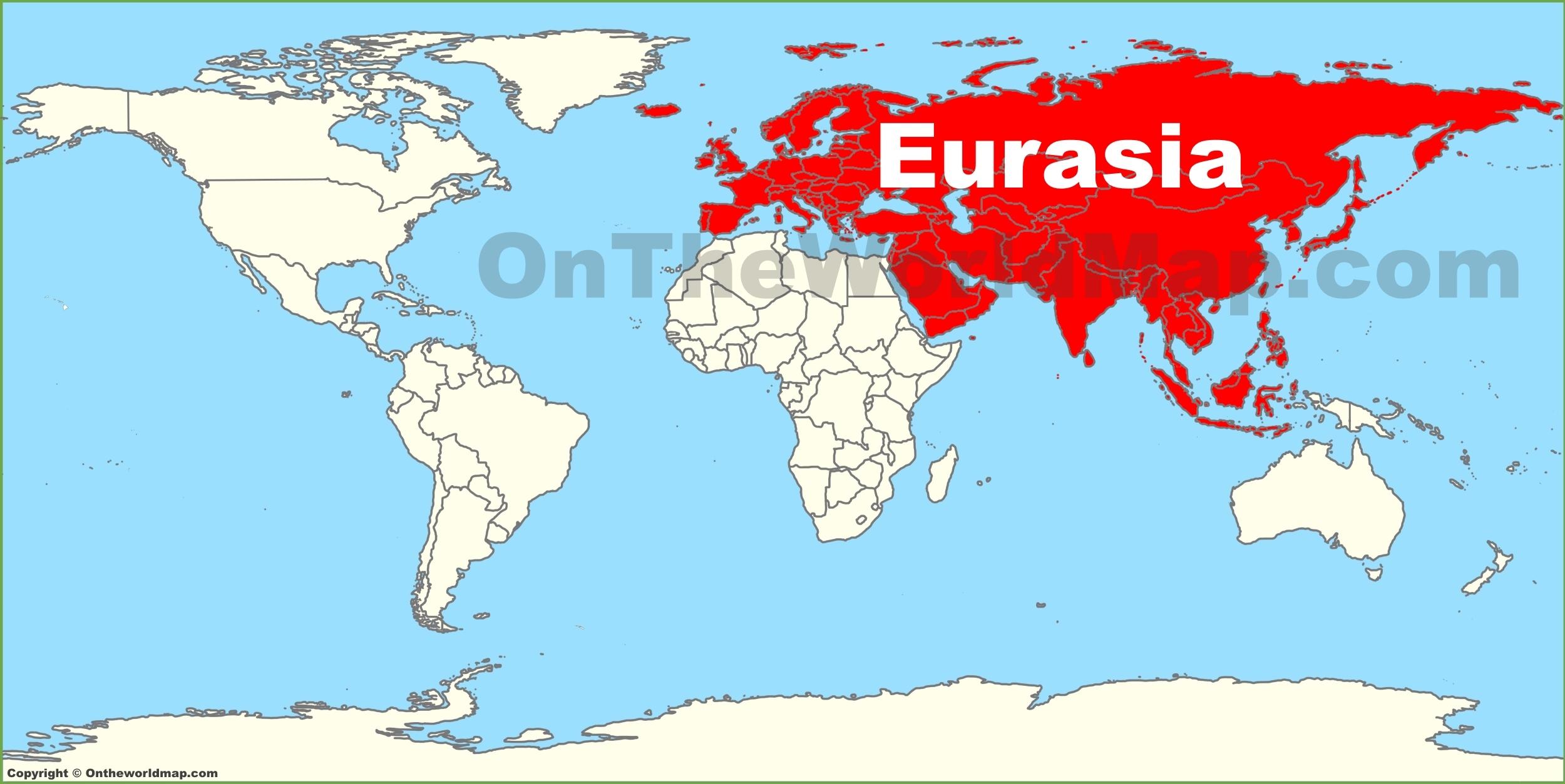 Map Of Eurasia Eurasia location on the World Map Map Of Eurasia