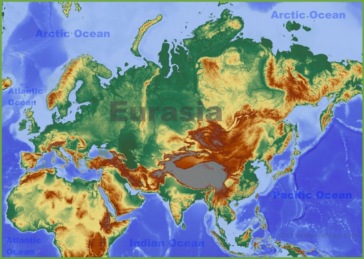 Physical map of Eurasia