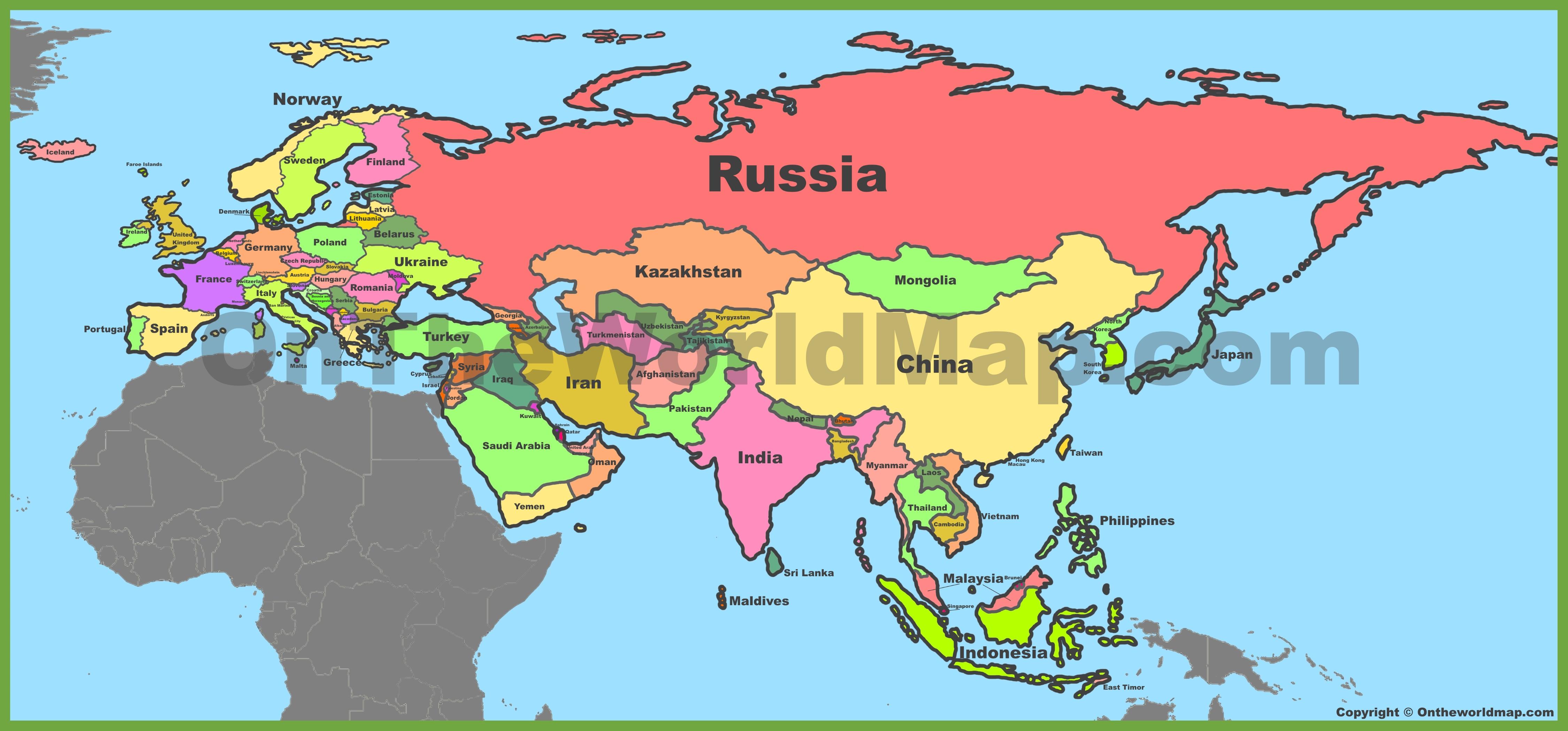 Map Of Eurasia Eurasia Maps   Maps of Eurasia   OnTheWorldMap.com Map Of Eurasia