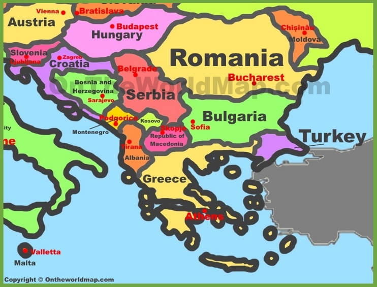 Balkan countries map