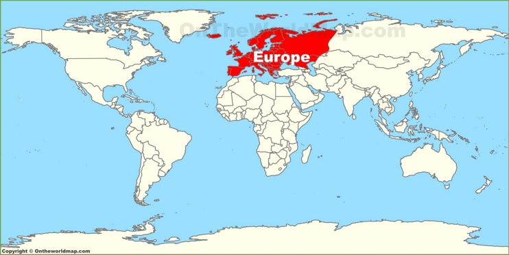 Europe location on the World Map