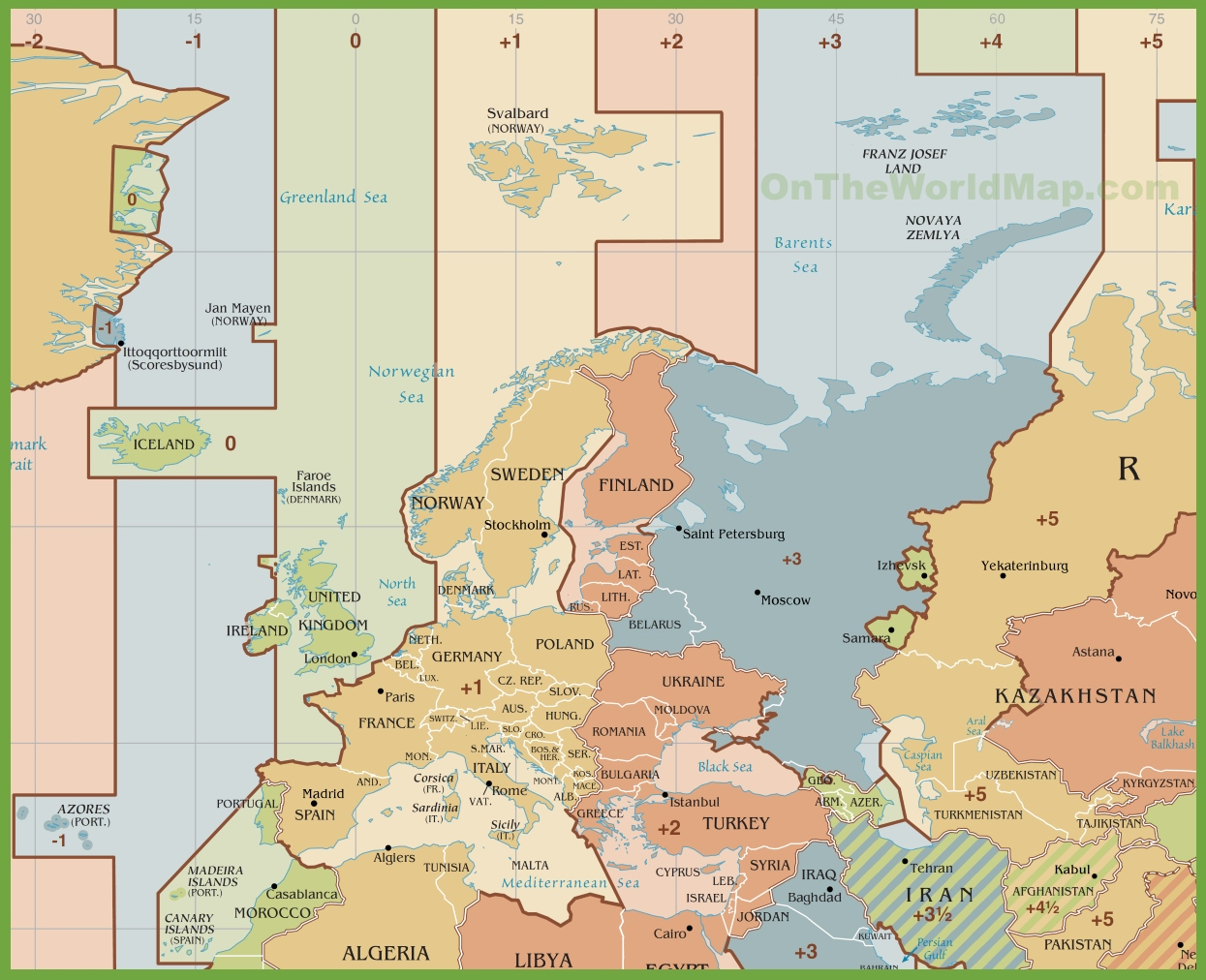 Europe Time Zone Map Europe time zones map