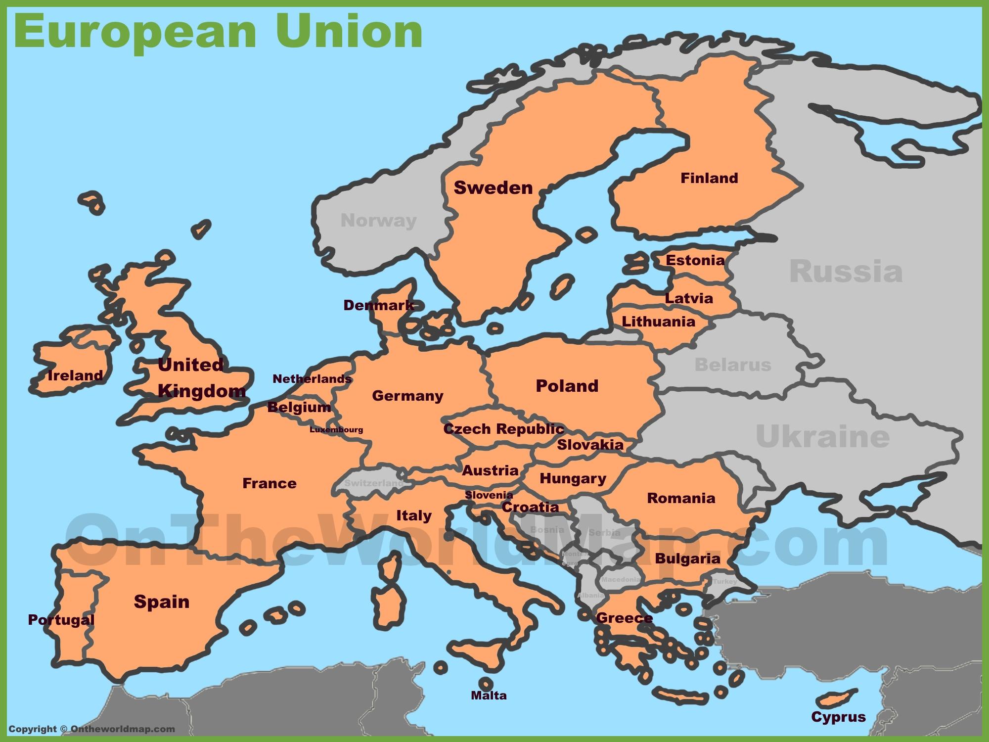 Map Of Eu Countries European Union countries map Map Of Eu Countries