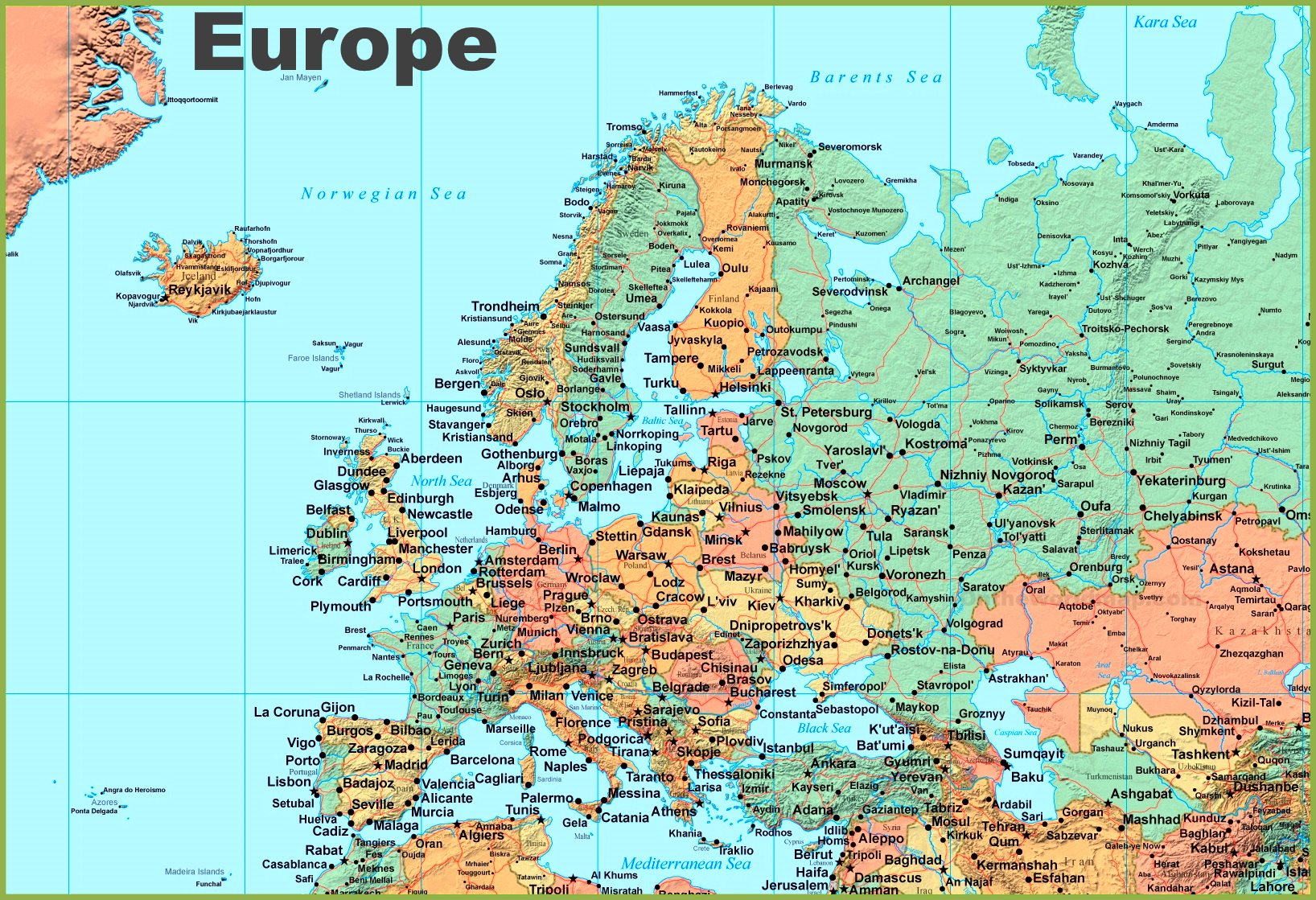 map of europe main cities Map of Europe with cities