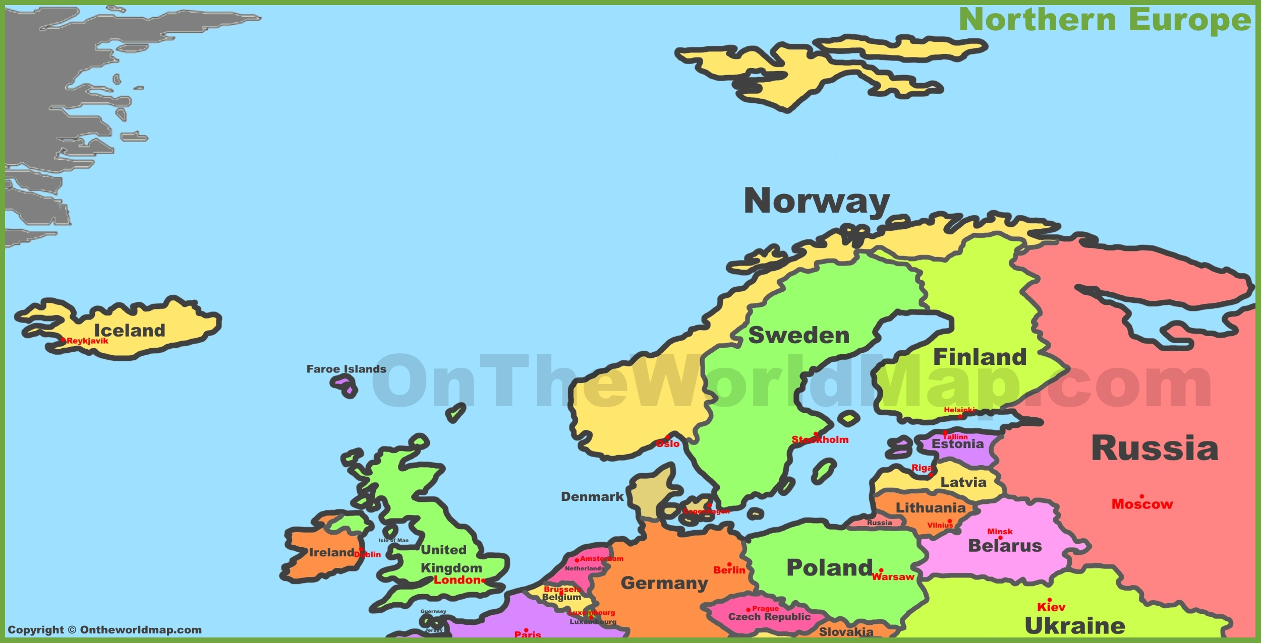 Map Northern Europe Map of Northern Europe Map Northern Europe